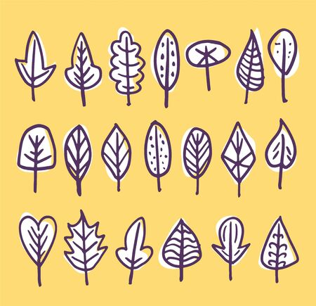 Set of white doodle leaves with brown outline on yellow background.