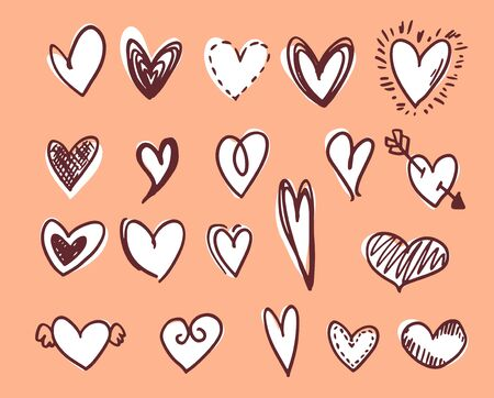 White hearts with brown outlines doodle illustrations on coral background
