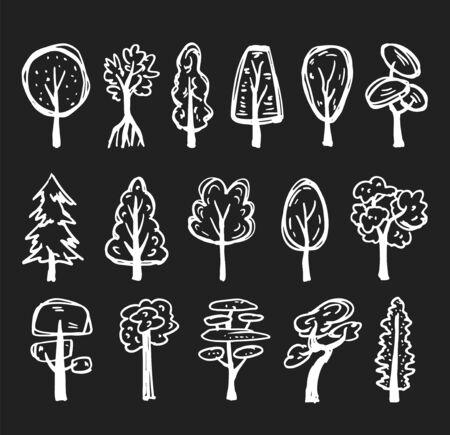 White doodle trees set on dark gray background
