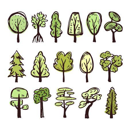 Set of colored doodle trees isolated on white background. Illustration