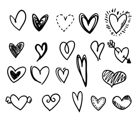 Set of different hand-drawn style in funny and cute doodle style. black illustrations isolated on white background