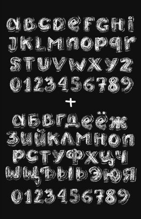 Small chalk cyrillic english and cyrillic alphabetical set with textured letters and numbers