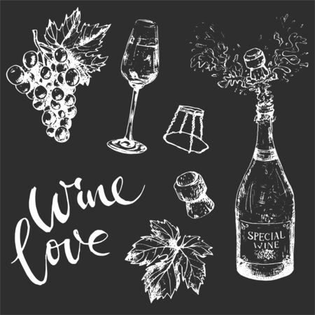 Monochrome wine set on darrk background, bottle, grape, glass, cork and leaf