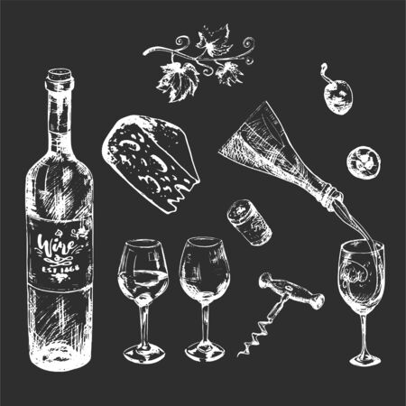 White on dark background wine and cheese set. Hand-drawn alcohol illustration 向量圖像