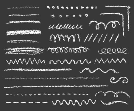 big set of chalk lines and strokes on dark background, variation of shapes and length 向量圖像