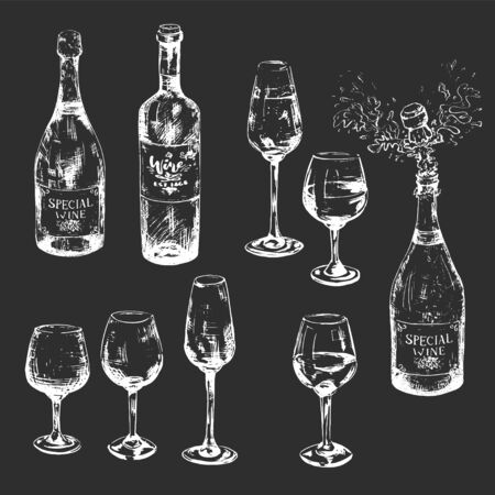 Black and white hand-drawn wine set with glasses full and empty, bottles