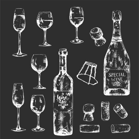 White on dark hand-drawn bottles and glasses set. Chalk wine illustration