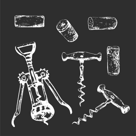 Whie hand-drawn set of corkscrews and plugs, monochrome wine illustration 向量圖像