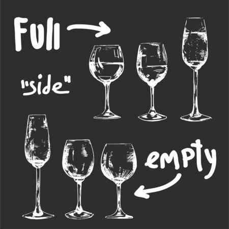 Set of different glasses ful and empty, white chalk illustration in wine theme 向量圖像
