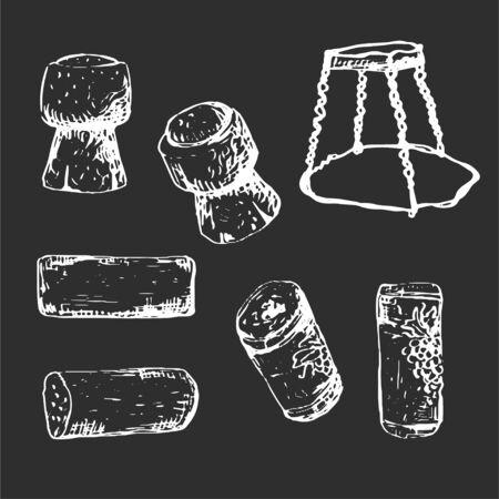 Whie hand-drawn set of corks, monochrome wine illustration