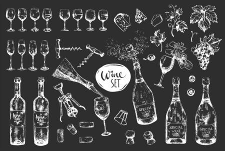 Monochrome wine big set on dark background, bottle, grape, glass, corkscrew, plugs and leaf