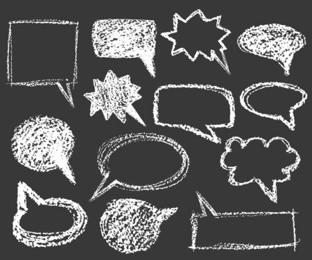 set of white chalk cartoon bubble speech elements in variety