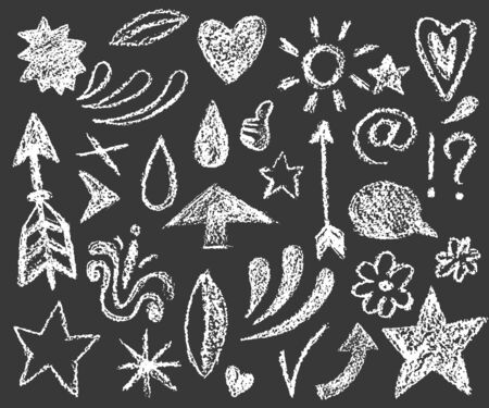set of chalk doodle illustration on dark background, cute small illustrations