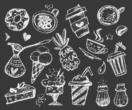 set of chalk doodles dessert and coffee illustrations on dark background