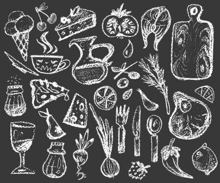 big set of chalk doodle illustrations about food, various elements for cafe and restaurant design