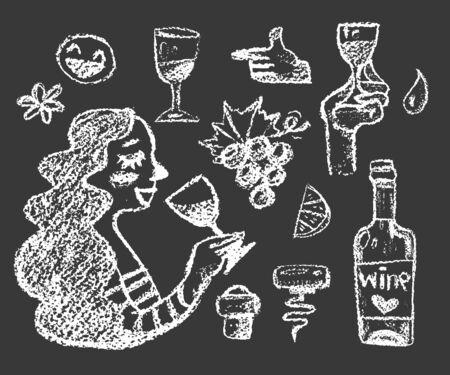 set of white chalk wine doodle illustrations on dark background Illustration