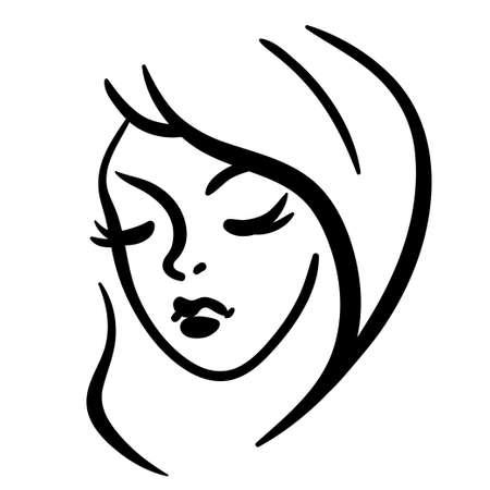 Woman head line silhouette, black stylized illustration