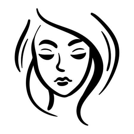 Line woman head icon black on white background. Fashion stylized illustration
