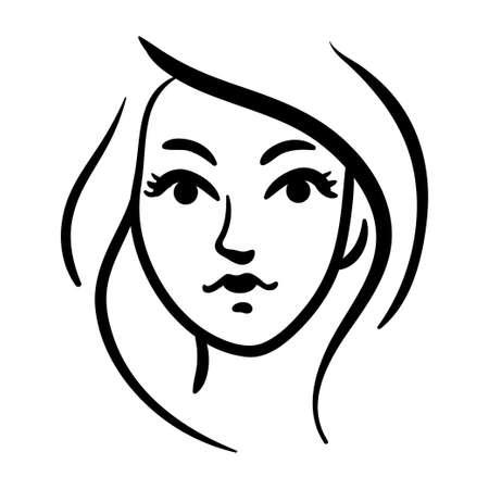 Stylized contour woman head icon on white background. Fashion portrait illustration