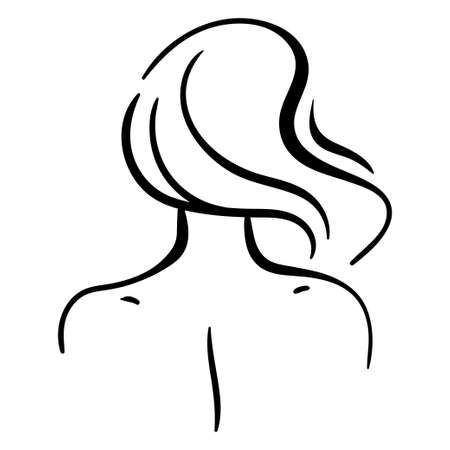 Fashion portrait of woman head from back, including neck and shoulders. Minimalistic line illustration