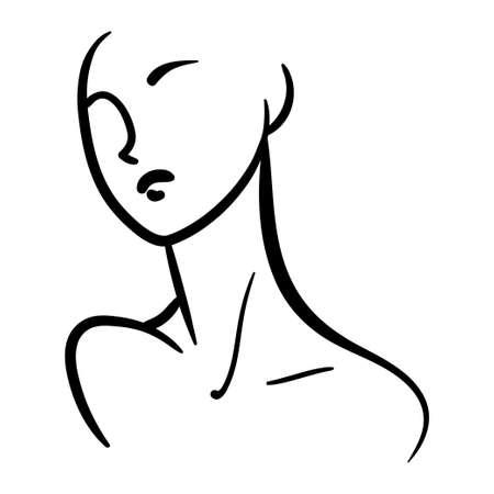 Minimalistic fashion portrait of woman head till shoulders. Black line illustration on white background