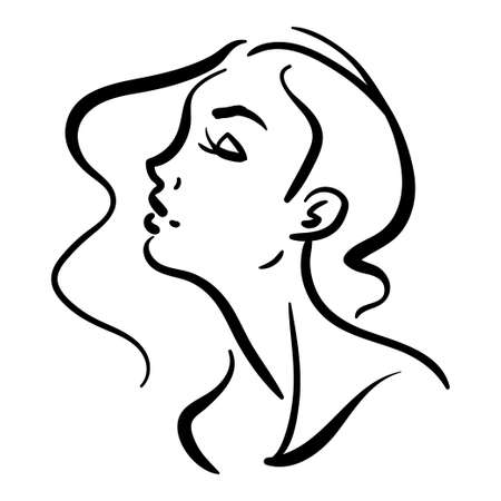 Beautiful woman profile head fashion illustration. Black line silhouette isolated on white background 向量圖像