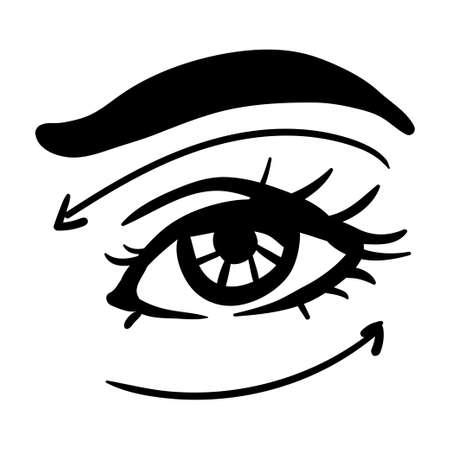 Black contour simple illustration of woman eye. Arrows of massage lines 向量圖像