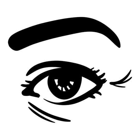 black simple line illustration of woman eye, age wrinkles demonstration 向量圖像