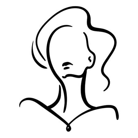 Minimalistic portrait of woman silhouette. Black contour fashion illustration