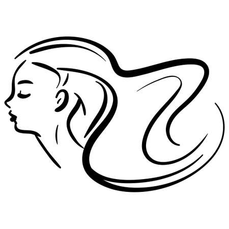 Fashion portrait of line woman in profile. Contour minimalistic illustration
