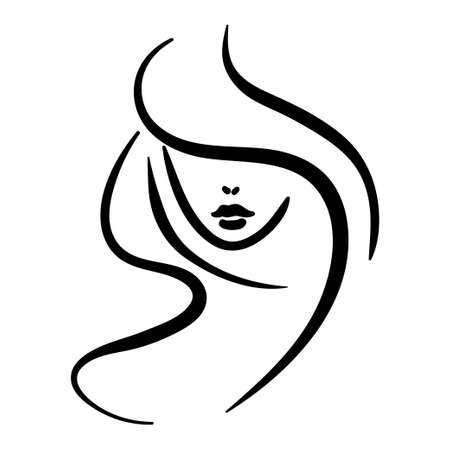 Minimal portrait of woman with hair and hidden face. Black contour illustration 向量圖像