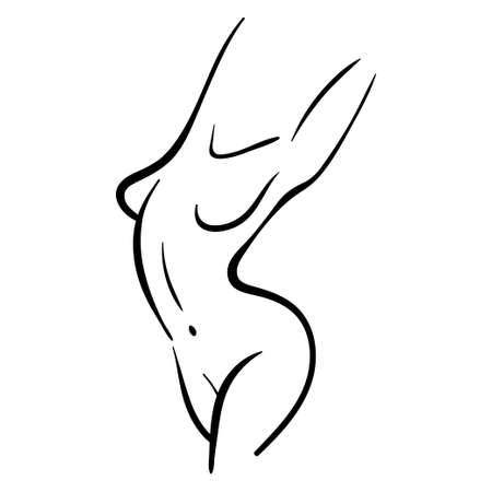 Line woman body silhouette in line style, stretching and bending