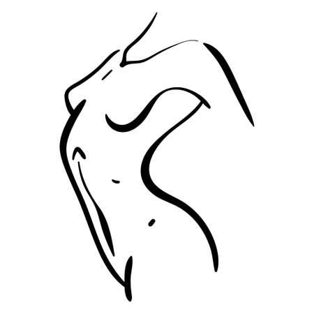 Woman body line silhouette in profile. Minimalistic female beauty illustration 向量圖像