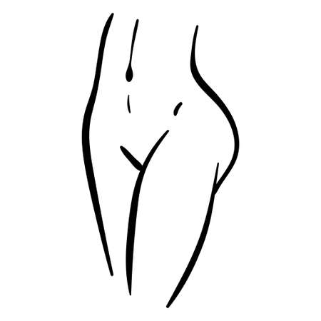 Woman belly and legs line minimal illustration. Black contour curves of slim girl