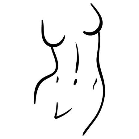 Woman curved body line art in minimal style. black contour illustration