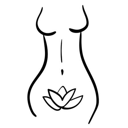 woman health line silhouette icon of body. black hand-drawn contours