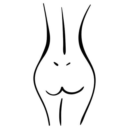 woman body line illustration in minimal style. back and legs contours