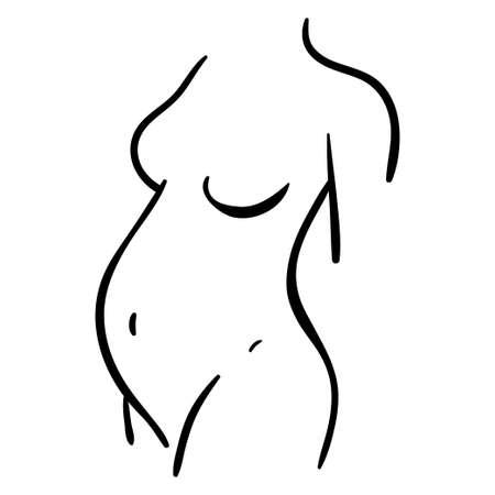 Black contour illustration of pregnant woman icon. Healthy lifestyle line silhouette 向量圖像