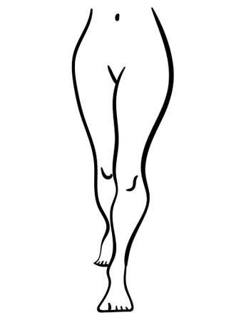 black contour illustration of woman legs walking, minimalistic stylized icon 向量圖像