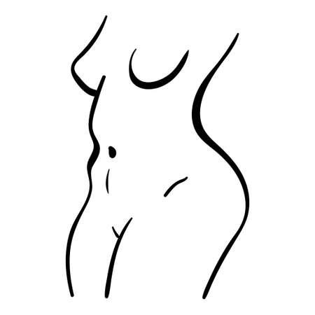 Black line illustration of plump woman body. Minimalistic contour icon 向量圖像