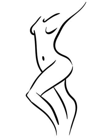 black contour illustration of woman walking body, minimalistic icon