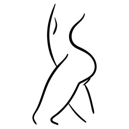 Black contour icon of woman body in profile. Intimate lifestyle illustration