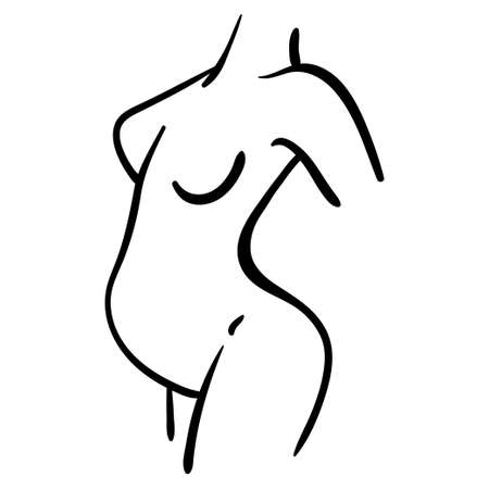 Black contour illustration of pregnant woman icon. Healthy lifestyle line silhouette in profile 向量圖像