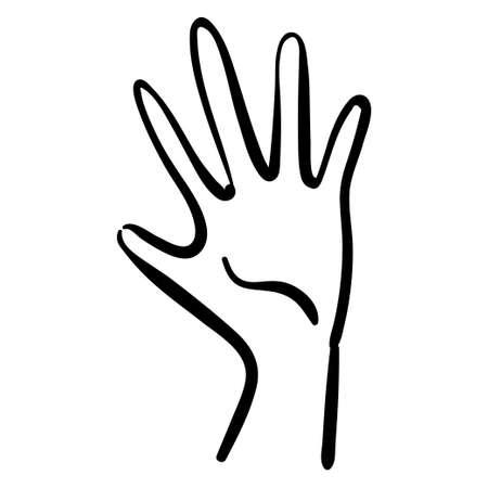 Black contour illustration of thin palm, minimalistic line art