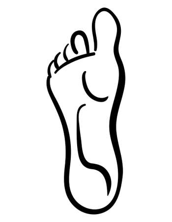 Black illustration of line style human foot icon 向量圖像