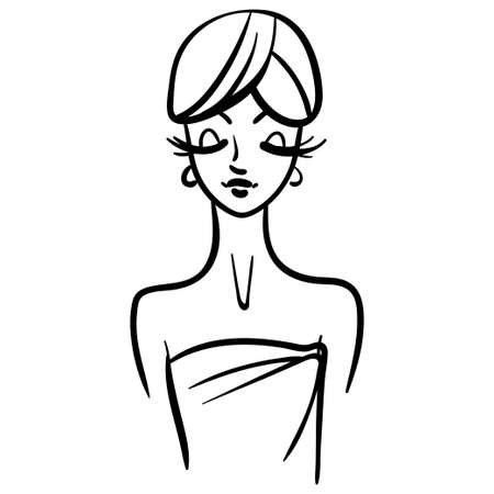 Woman cartoon line illustration in bath towel. Girl with long lashes, fashion portrait style 向量圖像
