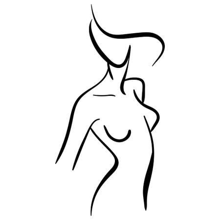 Black line contour illustration of stylized woman. Minimalistic icon