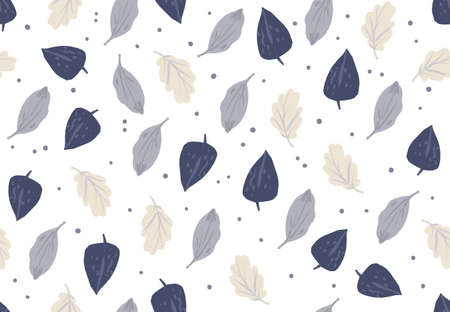 Simple autumn pattern in blue and beige colors on white background. Doodle cartoon style.