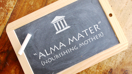 Alma mater. Latin phrase, translated into Inglese as nourishing mother, nursing mother, or fostering mother? ?.
