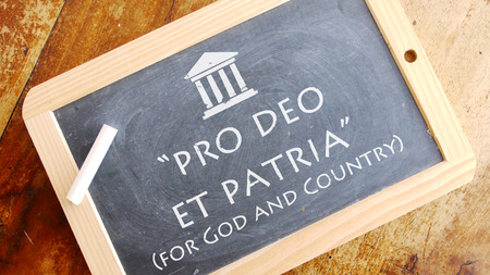 motto: Pro deo et patria. A Latin phrase meaning for God and country. American Universitys motto.